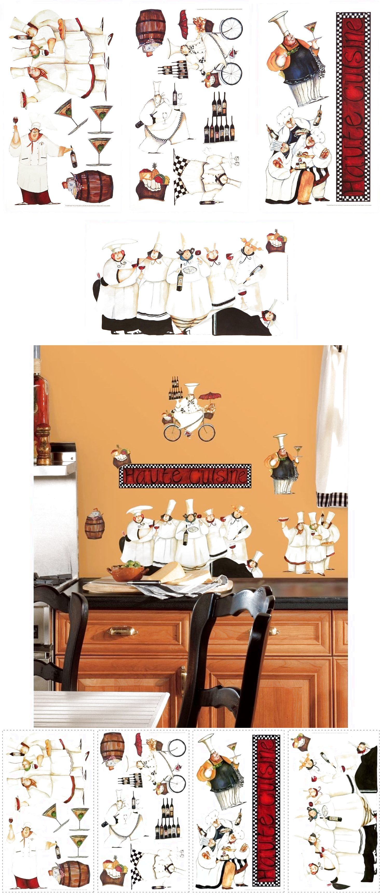 Chefs wall stickers room kitchen decor mural cooking cook cafe