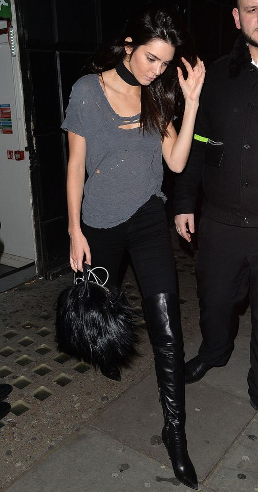 Kendall Jenner heads to Libertine nightclub in London on Monday.