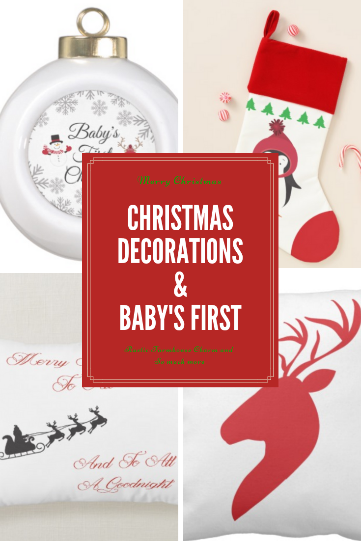 Cute Christmas Decorations With That Farmhouse Rustic Charm Babys First Christmas Onesie And Ornaments