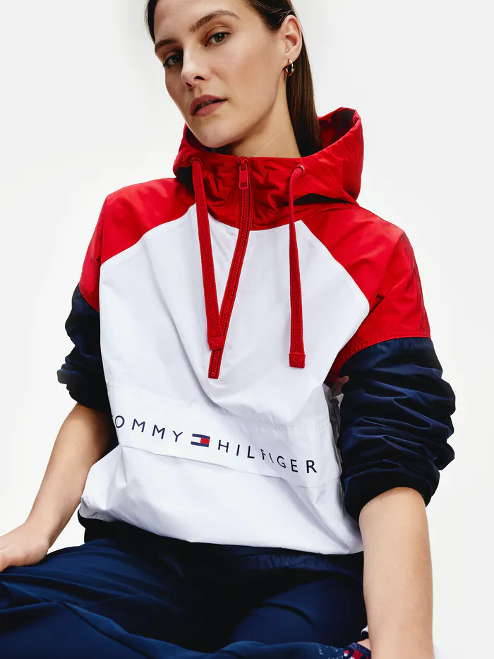 Packable Colour Blocked Popover Jacket Tommy Hilfiger Sweatshirt Tommy Hilfiger Women Tommy Hilfiger Windbreaker