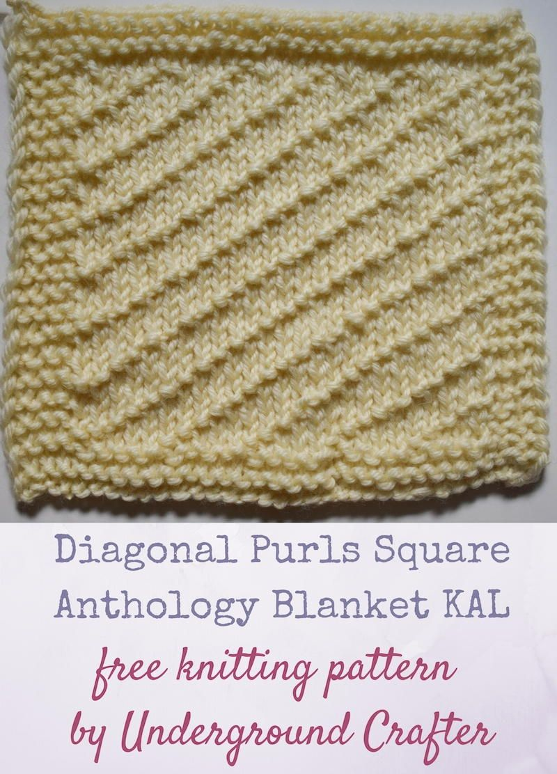 Diagonal purls square squares the diagonal purls square features a traveling stitch pattern that creates textured diagonal lines on a stockinette background this free knitting pattern bankloansurffo Image collections