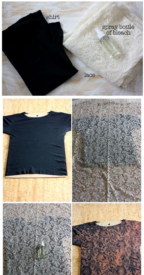 Lace Pattern Shirt Bleach Spray Bottle Black Girly Fitting Shirt Simple Bleach Dye Shirt Patterns