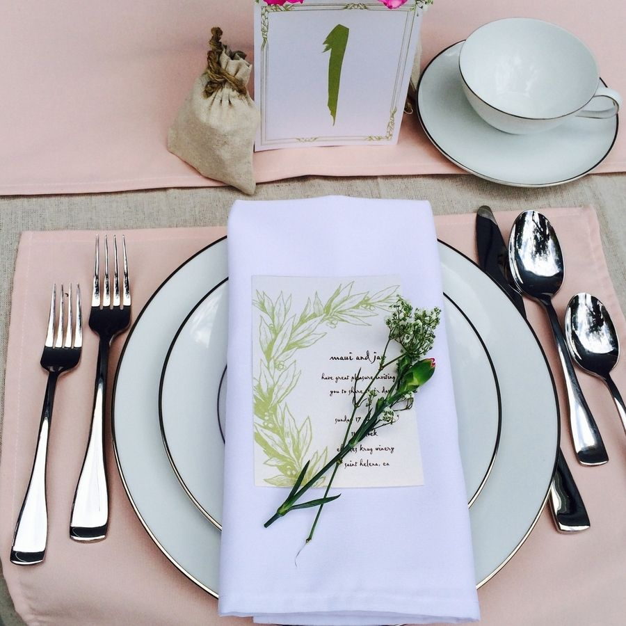 Blush Placemats And White Cloth Napkins Wholesale Table Linens Wedding Table Linens Rustic Glam Wedding Wedding Placemats