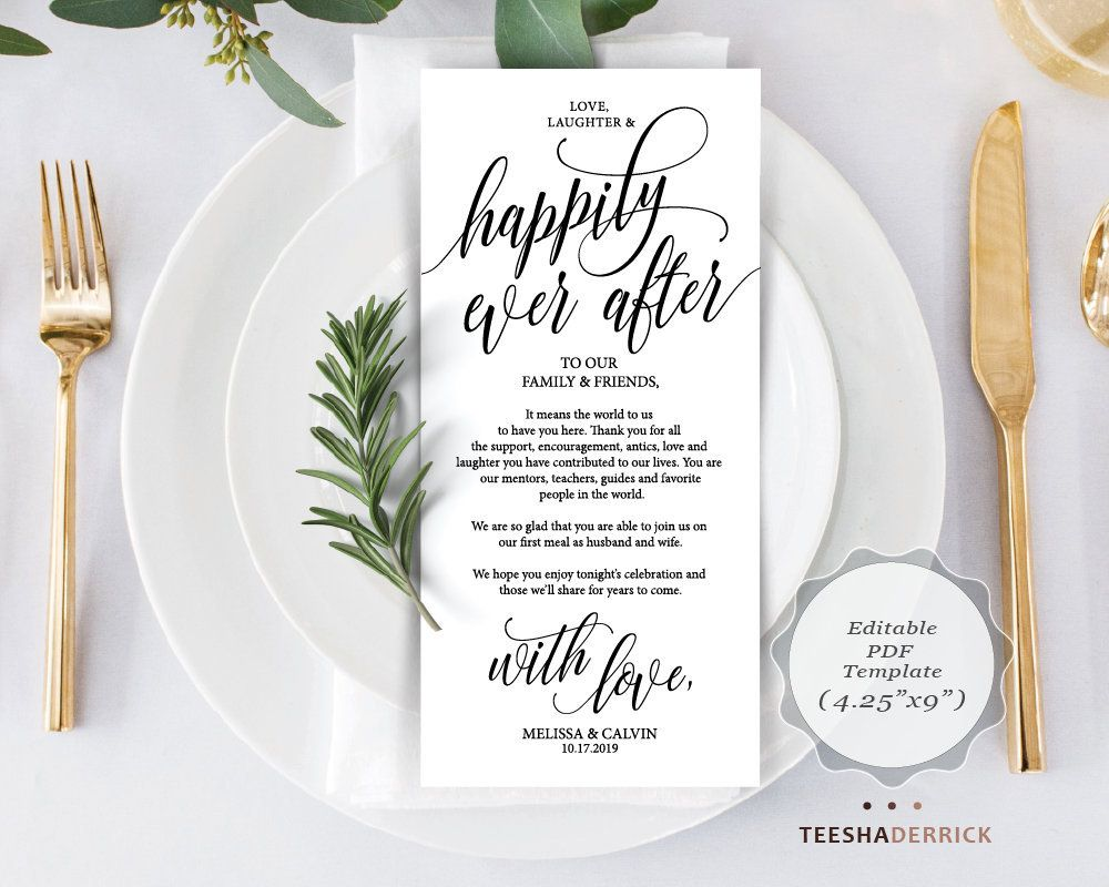 wedding place setting thank you card pdf template love