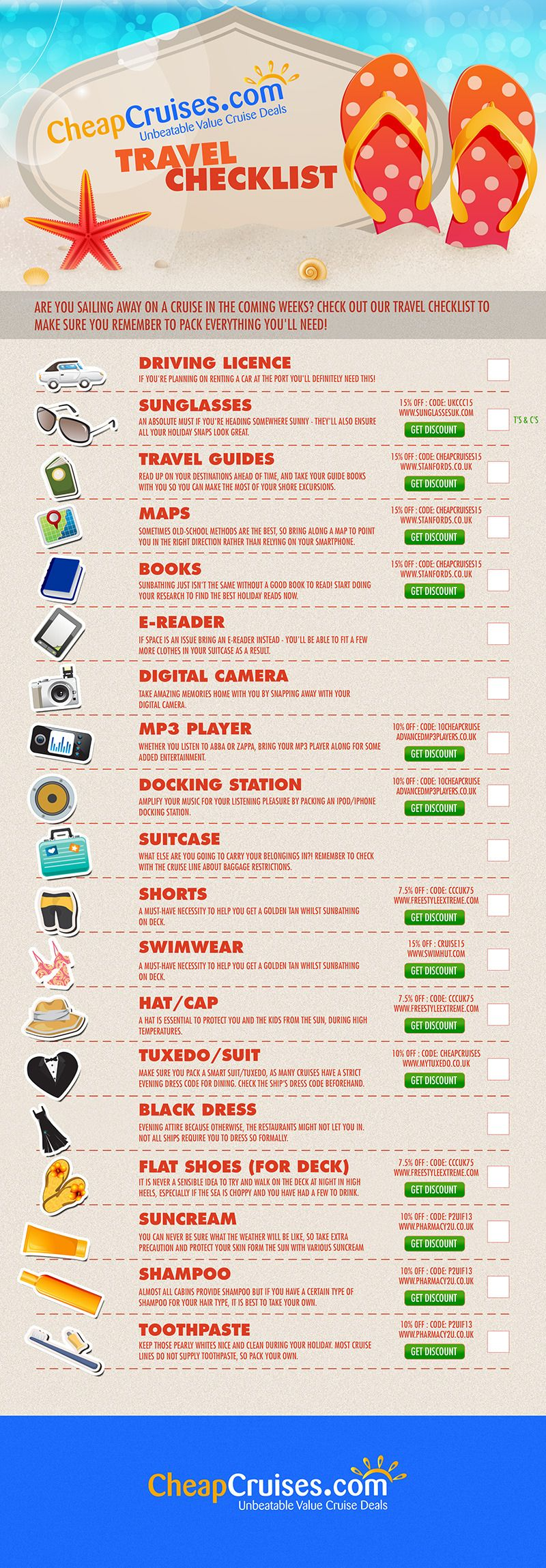 checklist for a cruise vacation