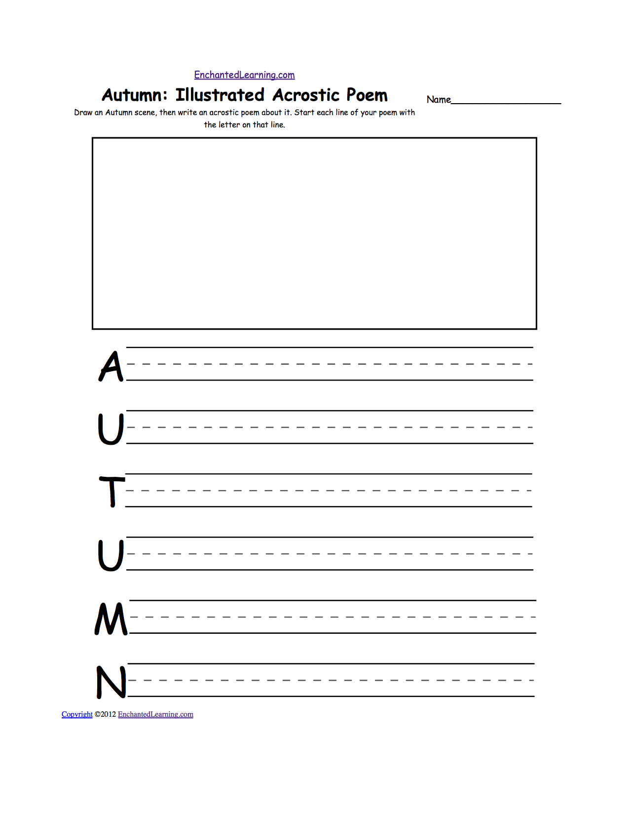 Acrostic Poems Blank Templates
