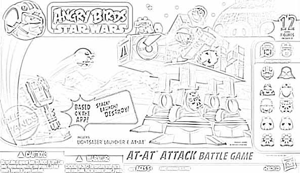 Star Wars Angry Birds Attacking Coloring Page