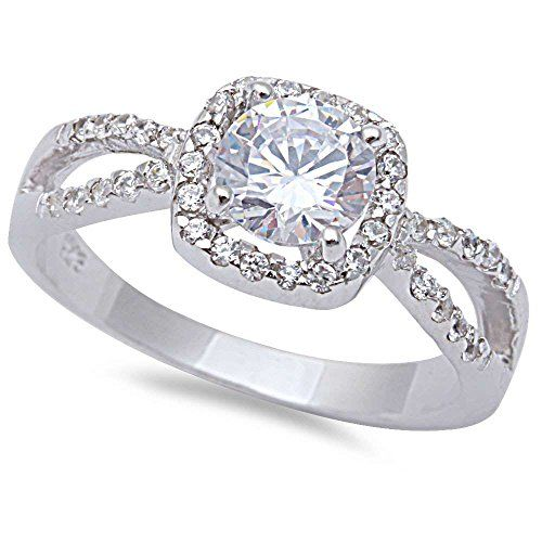 125CT Halo Style Cubic Zirconia Solitaire Fashion Engagement 925
