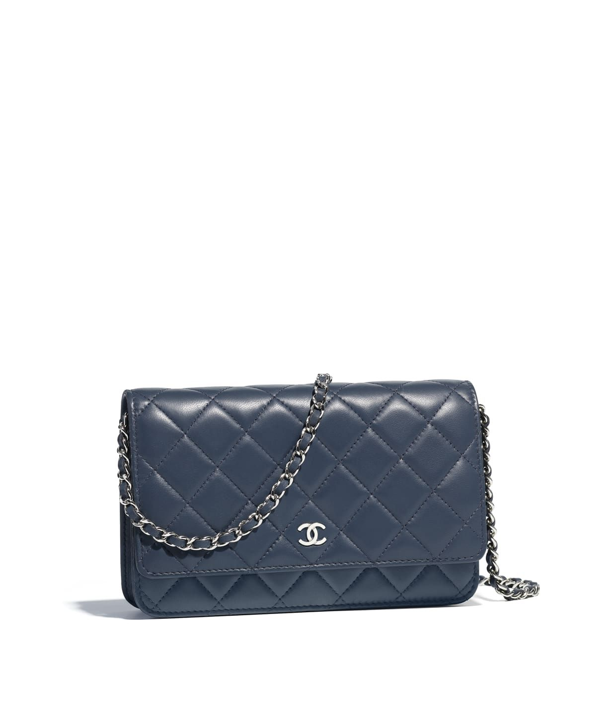 5cc582d036eb Discover the CHANEL Lambskin & Silver-Tone Metal Blue Classic Wallet on  Chain, and