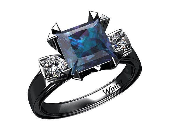 Princess Cut Alexandrite Ring 14k Black Gold by WinterFineJewelry