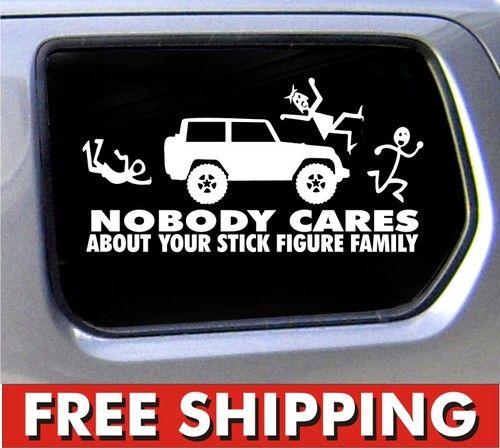 Nobody Cares Stick Figure Family sticker for Jeep car vinyl sticker decal custom