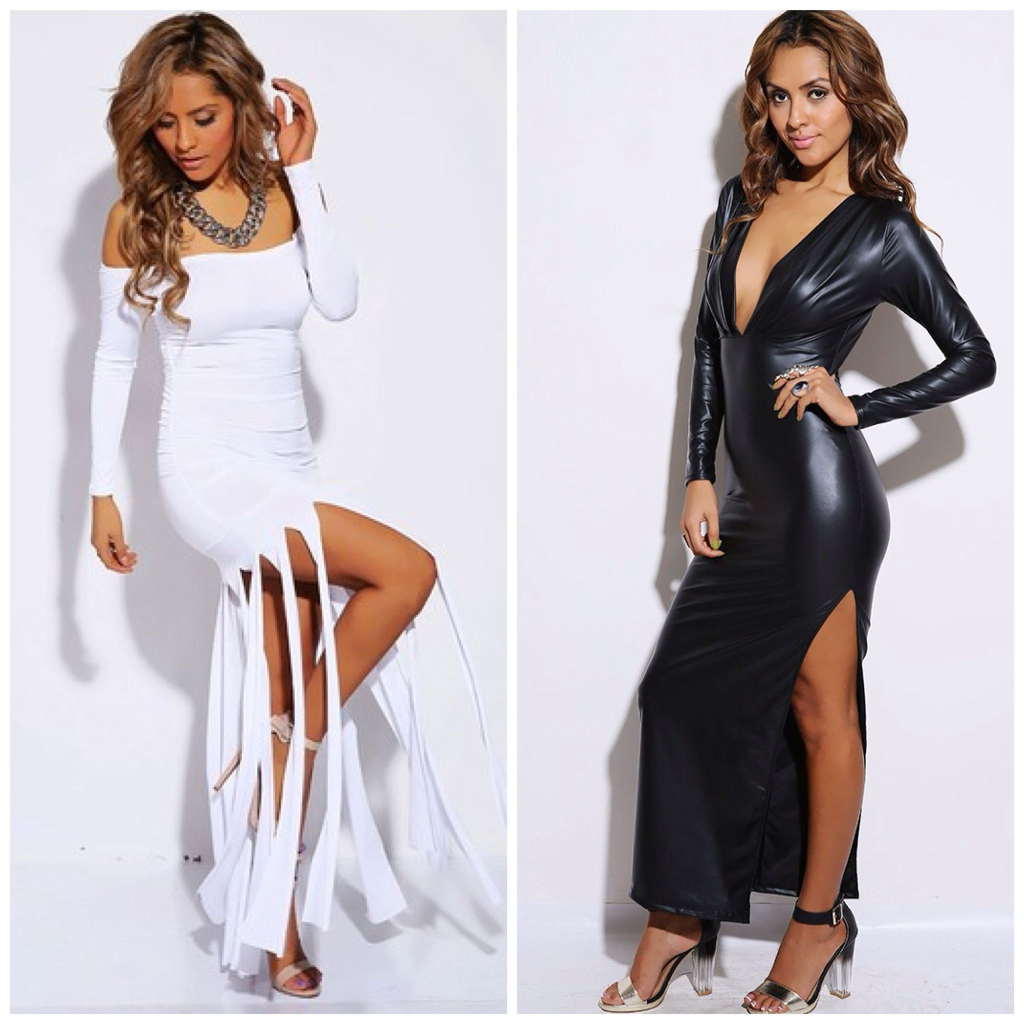 Black Leather Like Dress Along Side With The Bright White Off Shoulder Y Long