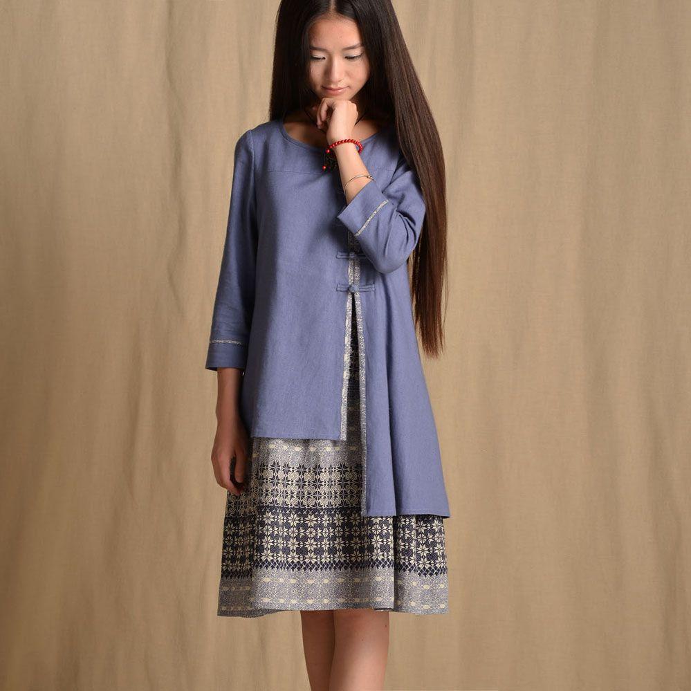 Original design autumn womenus chinese style faux two piece plus