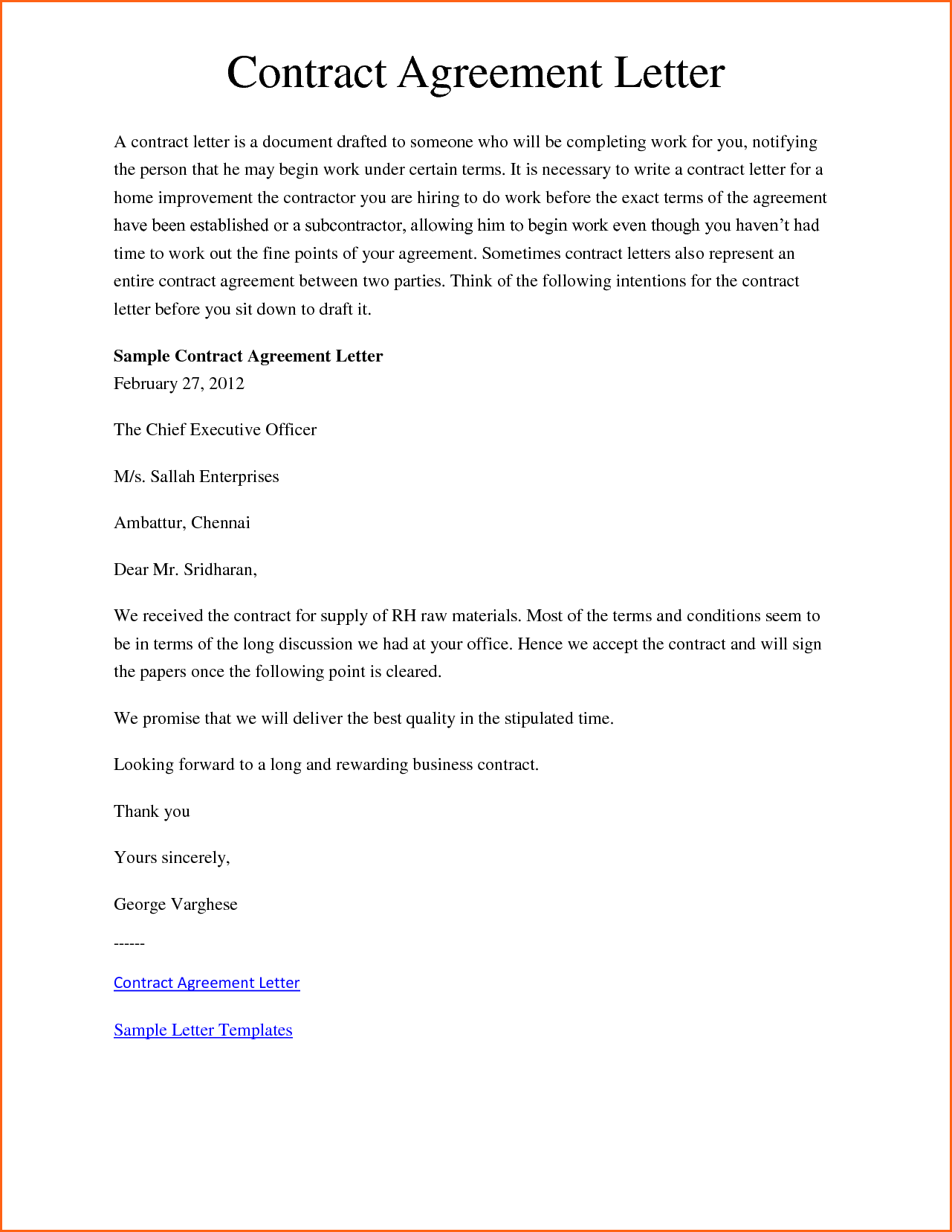 Sample Letter Agreement Business Payment Contract Template  Home