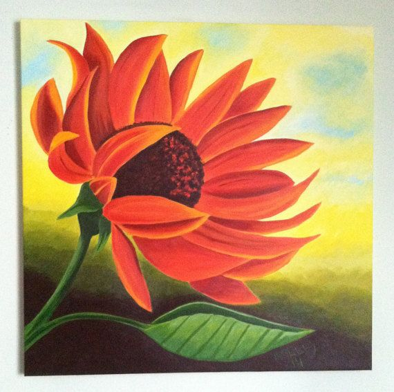 Tangerine by PaintingsbyKelley on Etsy Sunflower canvas acrylic hand painted art orange