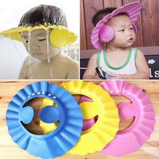 Adjustable Baby Bathing Shower Shampoo Water Cap Hat Ear Hair Shield Earmuffs