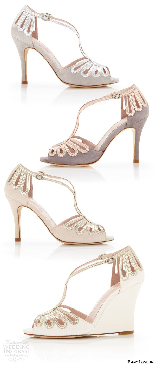 EMMY LONDON Color Wedding Shoes Peep Toe Heels Wedges Cream Vapour Cinder Colored Strap
