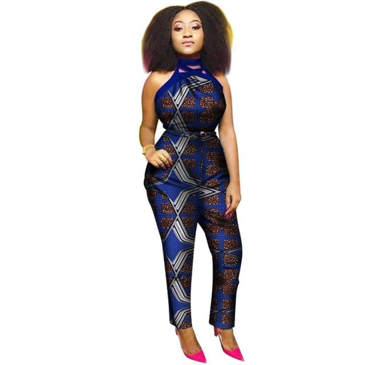 ba88bbae28d8 African Cloth Women Cotton Wax Print Romper Jumpsuit With Hanging Neck