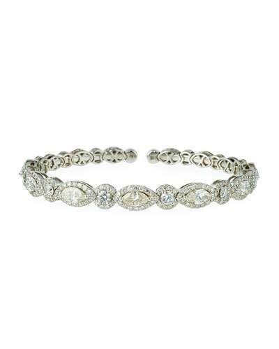 Diana M. Jewels 18k White Gold Marquise & Round Diamond Bangle Bracelet, 6.74tcw