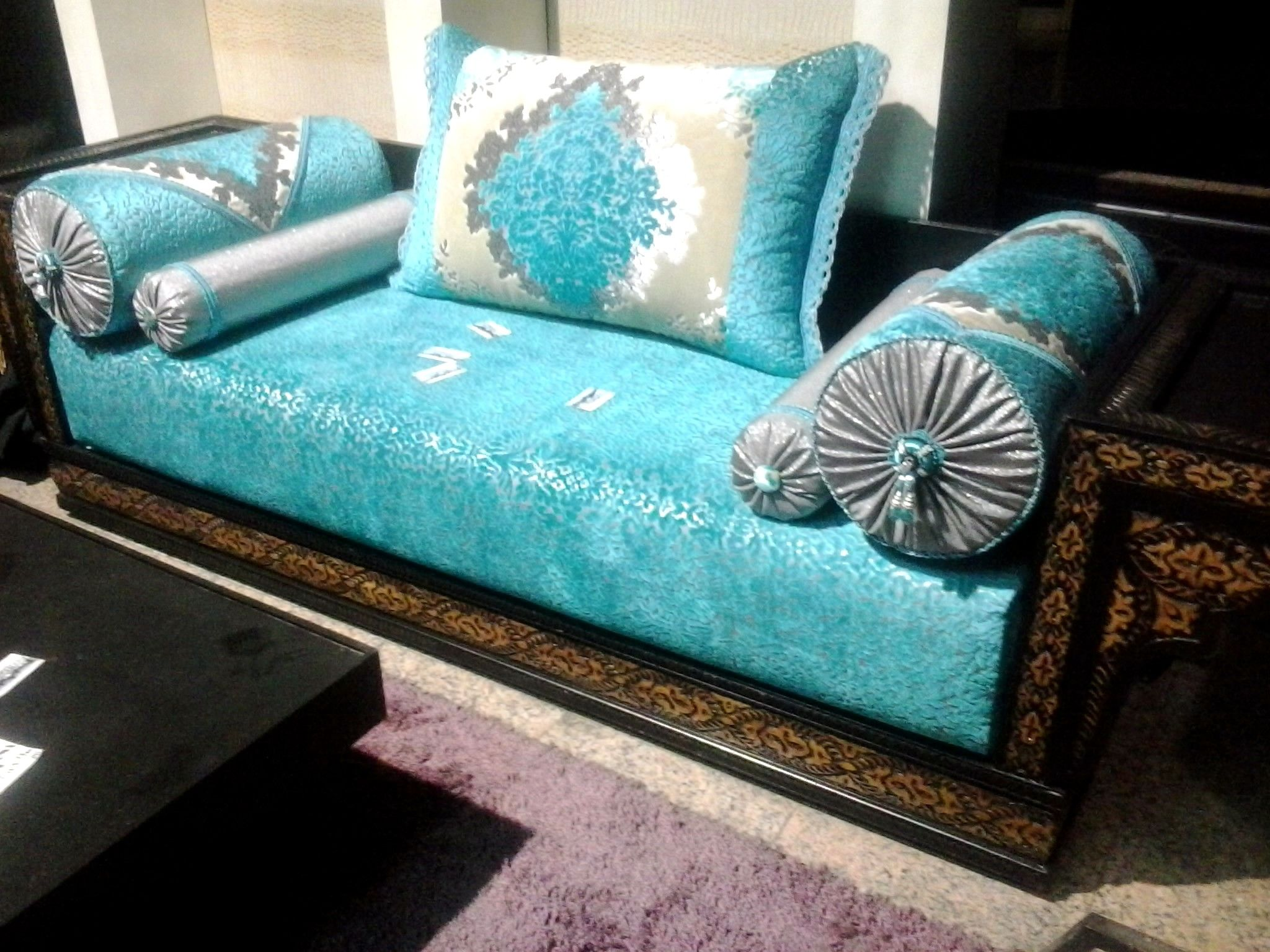 Salon Marocain Moderne Orange Marron | Furniture, Salon ...