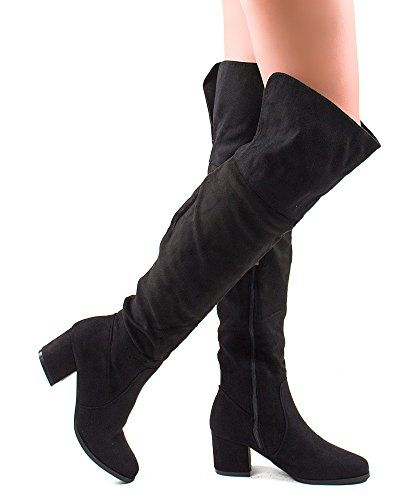 RF ROOM OF FASHION Womens Block Heel Pullon Over The Knee Boots