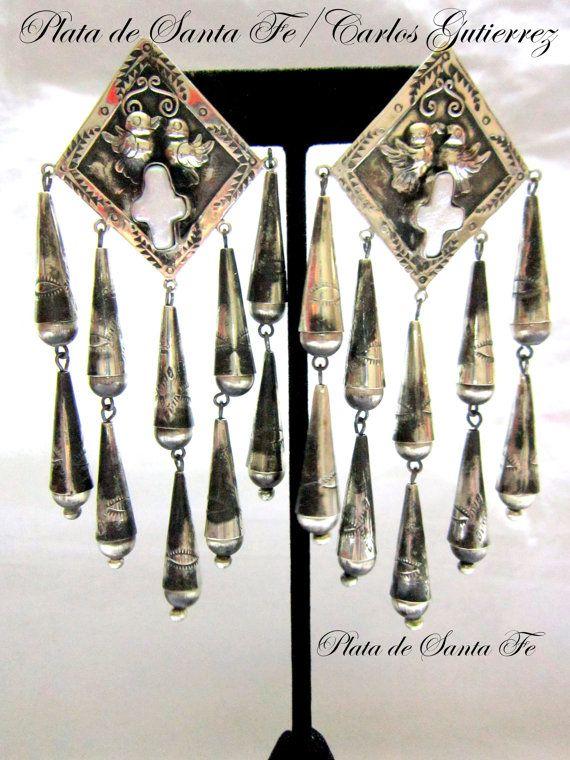 "PLATA de SANTA FE Designs Sexy &  Stunning! 2 Tier Cones/Dove/Cross  Oxidized 925 Dangle Earrings  Over 4"" Long!"