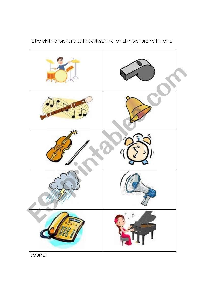 Soft And Loud Sound worksheet Word work kindergarten