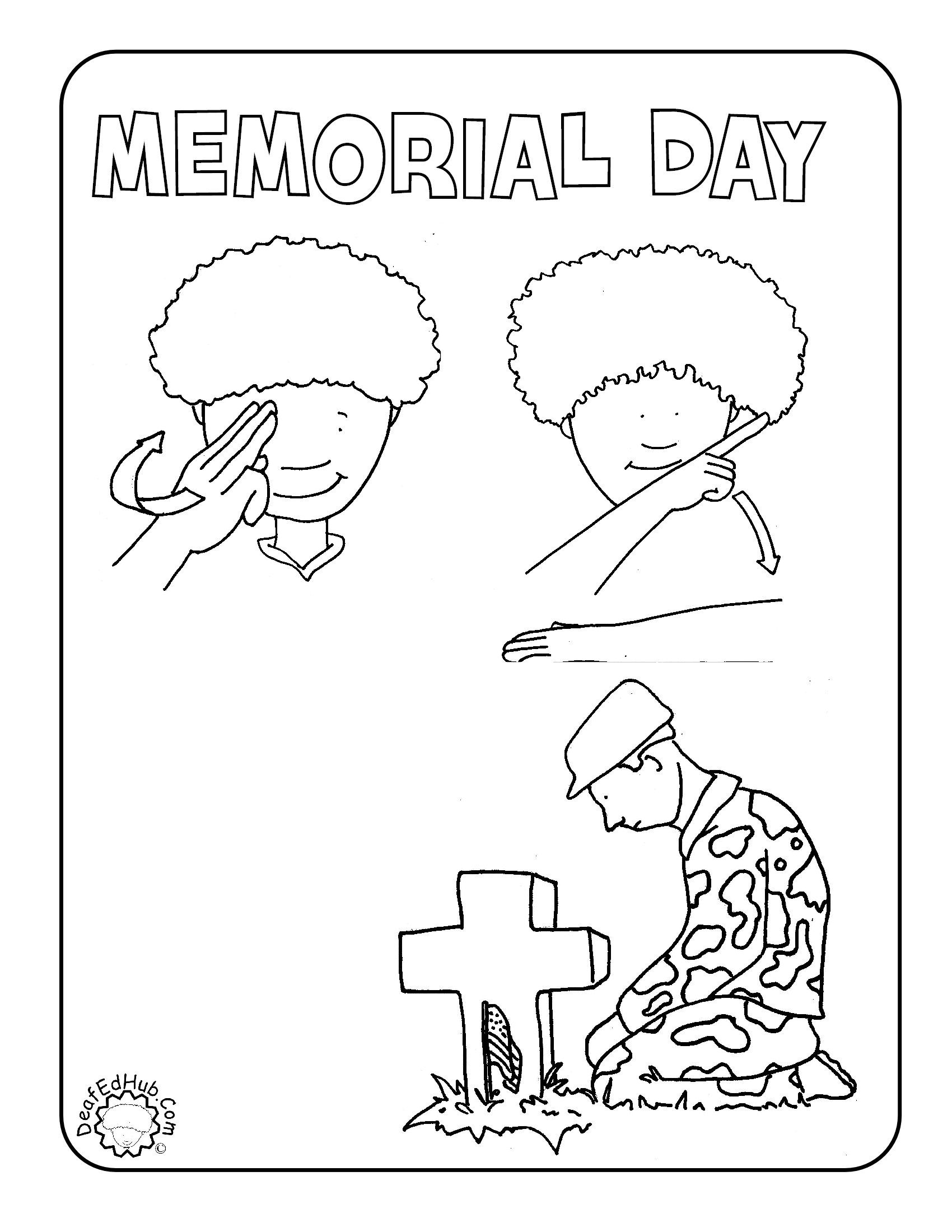 Memorial Day Coloring Pages New Memorial Day Coloring Page In Asl  Asl  Pinterest  Sign