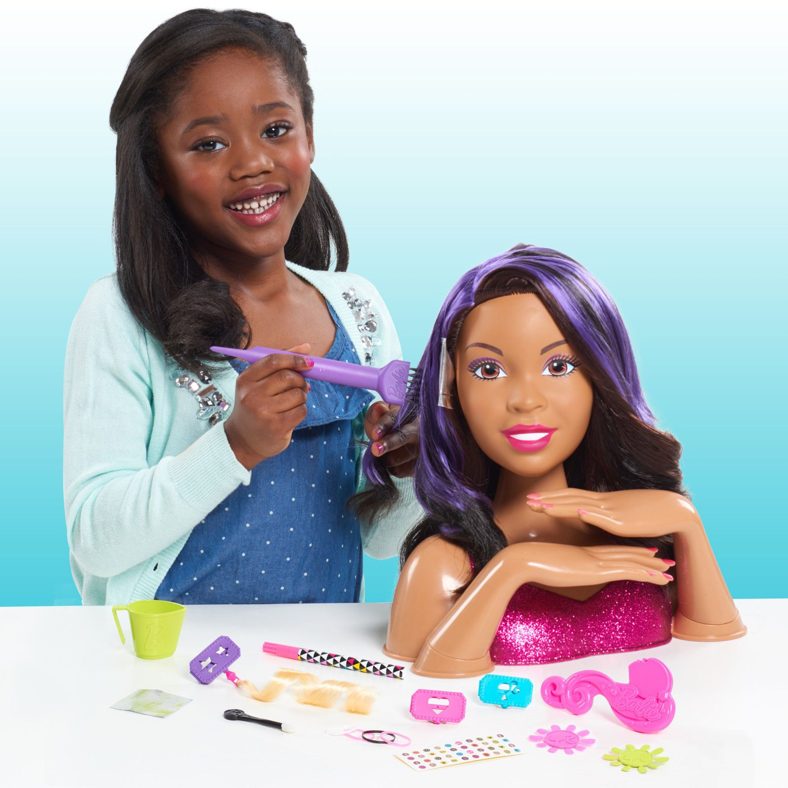 2017 Barbie Flip And Reveal Deluxe Styling Head Brunette To Purple Aa By Just Play 6 Natural Hair Styles Hair Styles African American Kids Hairstyles