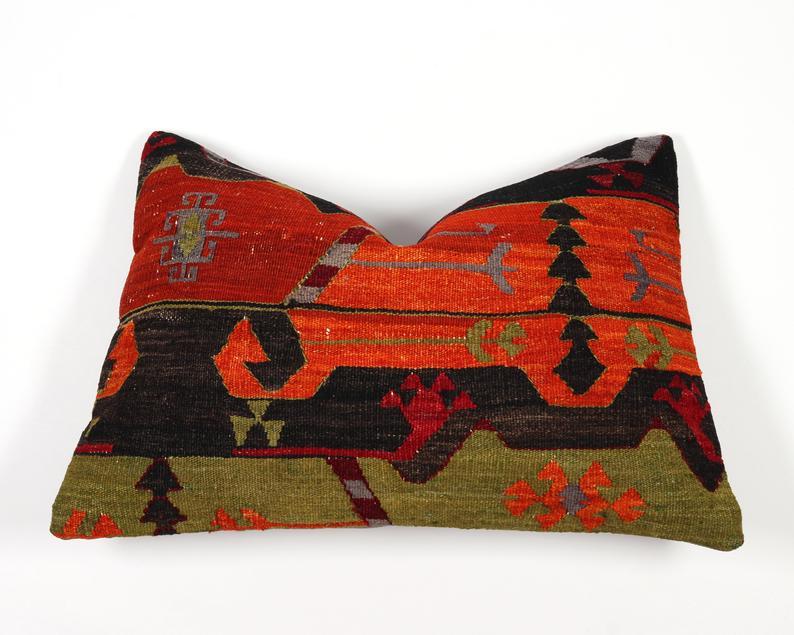 Kilim pillow cover 16x24 lumbar 40x60 case boho moroccan orange green black ethnic turkish anatolian couch sofa seat bench cushion cover