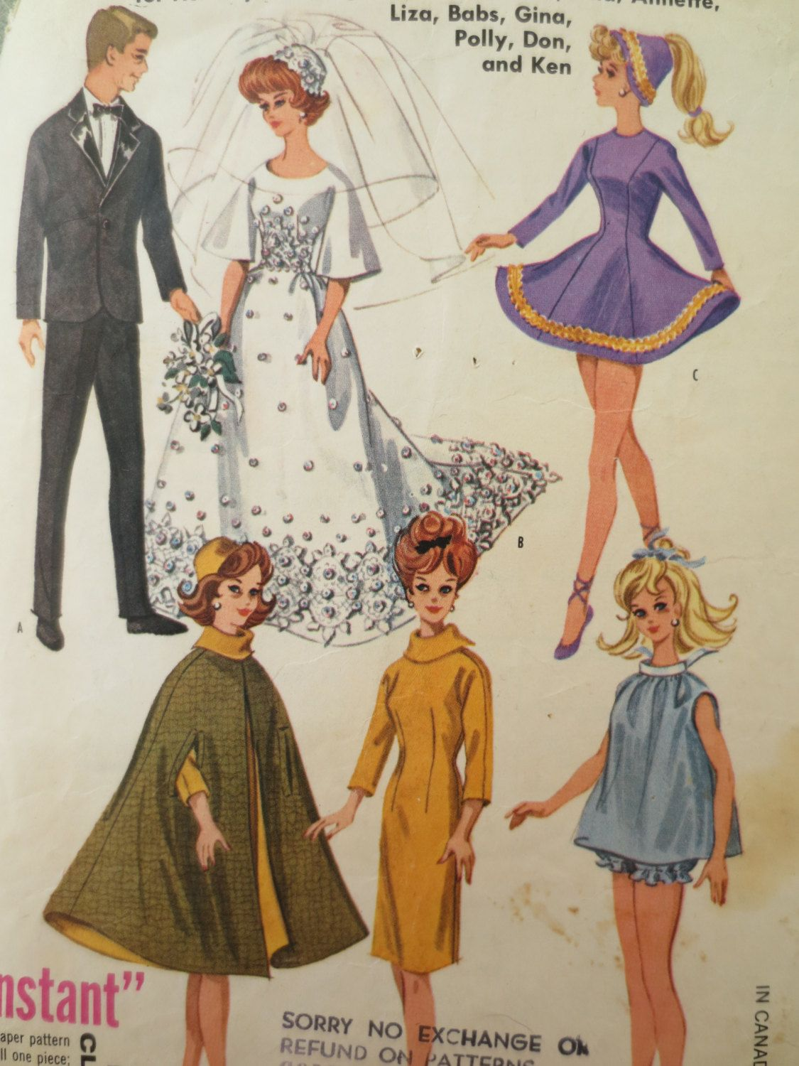 Vintage McCall\'s 6420 Sewing Pattern, Barbie Clothes Pattern, 1960s ...