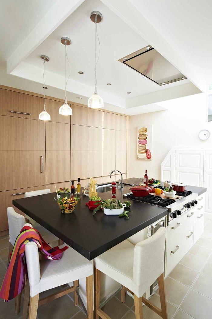 CUISINE MINIMALISTE ILOT CENTRAL POLYVALENT Mur De Rangement - Hotte de cuisine plafond