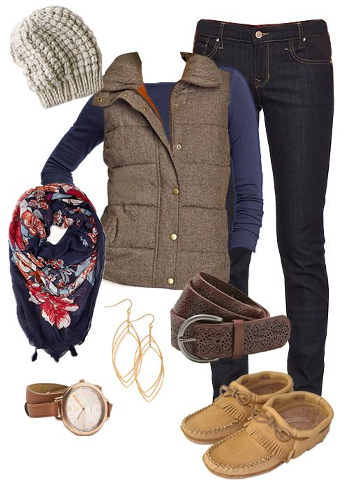 Moccasins Canada - Womens Moosehide Moccasins B468 ••• Gap - 1969 Always Skinny Jeans ••• Old Navy - Women's Quilted Tweed Vests ••• Old Navy - Women's Boatneck Tees ••• AEO - Chunky Knit Beanie ••• AEO Perforated Leather Belt ••• Forever 21 - Floral Fantasy Tassel Scarf ••• Forever 21 - Etched Geo Drop Earrings