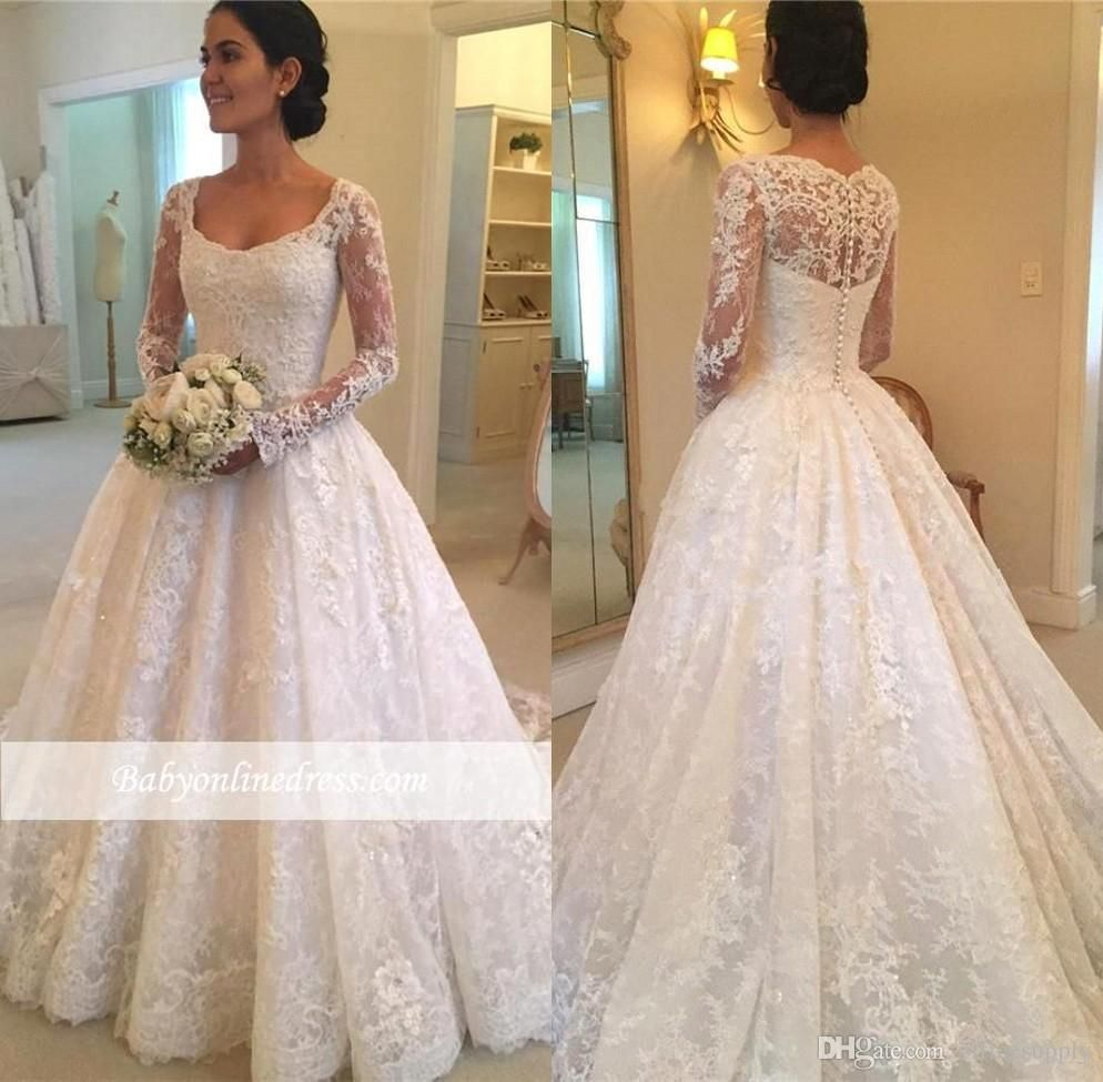 Vintage country wedding dresses  Discount  Vintage Country Lace Wedding Dresses With Long Sleeves