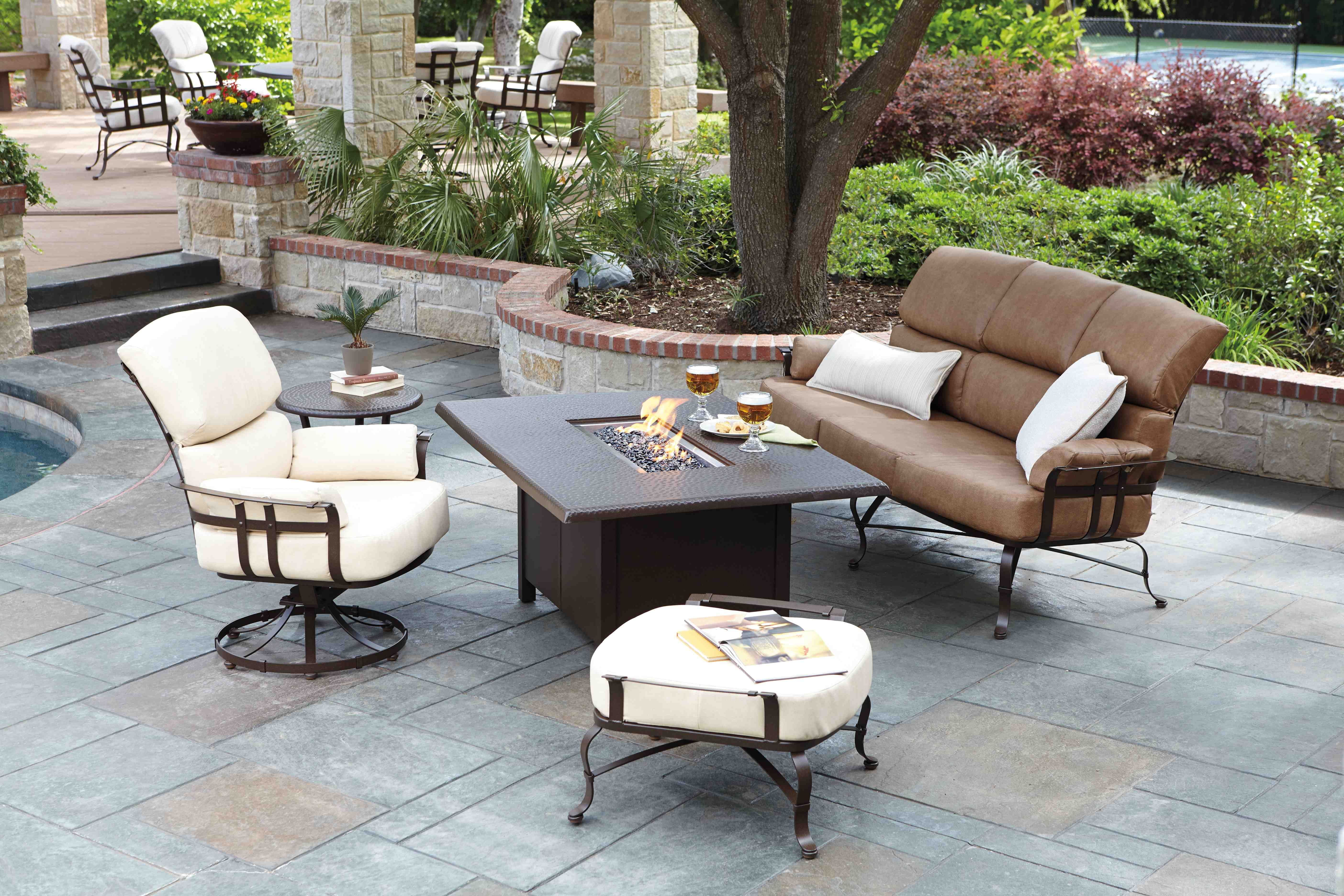 Atlas Wrought Iron Seating With Rectangular Cocktail Table With Integrated Fire Outdoor Furniture Sofa Patio Furniture Collection Wrought Iron Patio Furniture