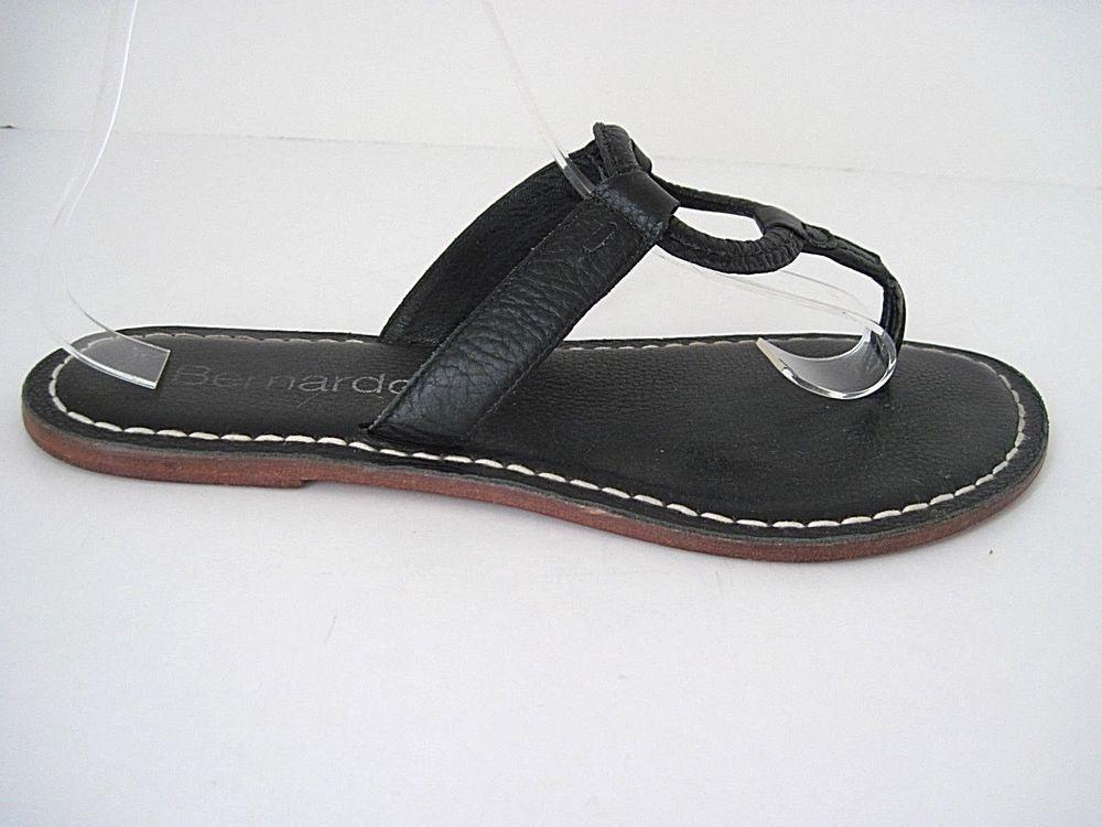 661c9e5bc4d Bernardo Matrix Sandals Black Leather Slip On Thong Flats Women s Size US  10 M  Bernardo  FlatsSlipOnThongFlipFlopSandals  Casual
