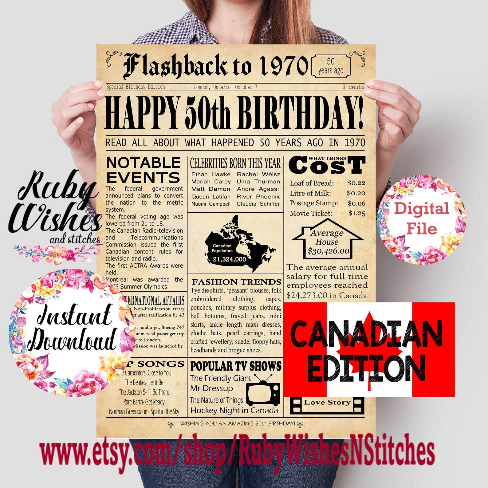 Instant Download 50th Birthday 1970 Newspaper Major Events
