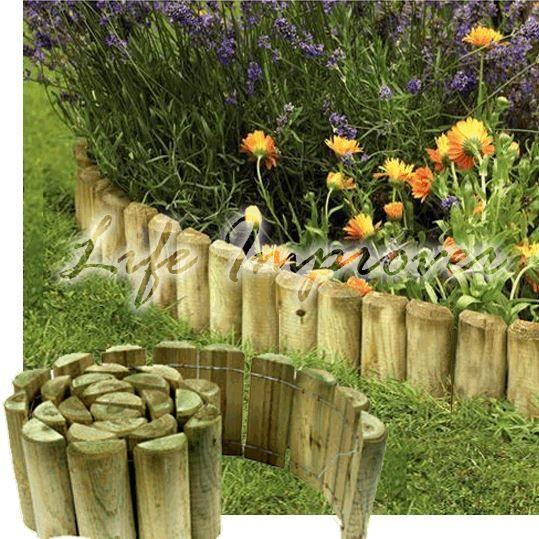 Superb 6 039 X 1 Wooden Garden Border Rolls Lawn Edging Gardening Log Roll Fence