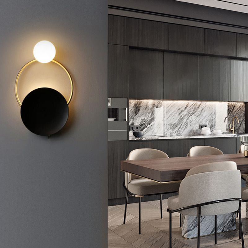 Black And Gold Finish Modern Led Wall Light With Ring Circle And Glass Shade Wall Lights Led Wall Lights Wall Lights Glass Shades