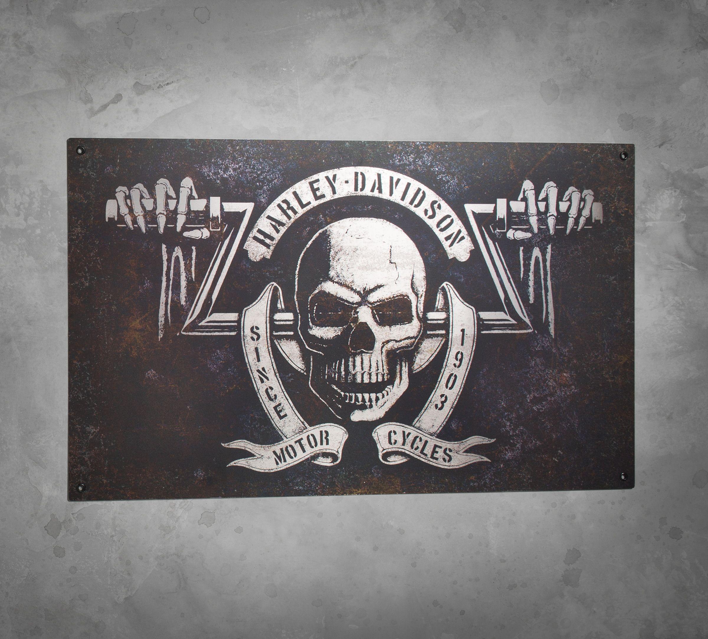 Great for garage, backyard deck, or basement man cave. | Harley-Davidson Shadow Skull Tin Sign