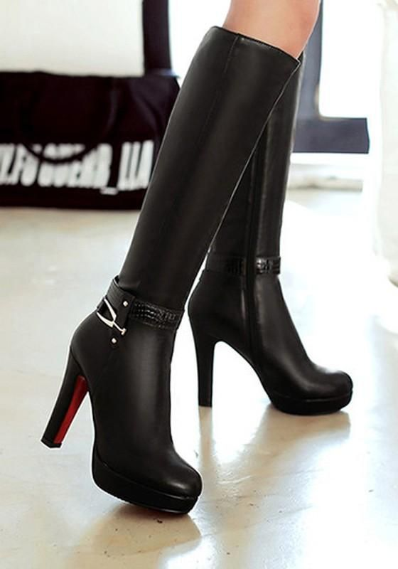 ee380f0f9a166 ... Shaft Height :37cm Heel Height :11.5cm Platform Height :2.5cm Heel  Height :High Heel Type :Chunky Boot Shaft :Knee-High Color :Black Toe :Round  Shoe ...