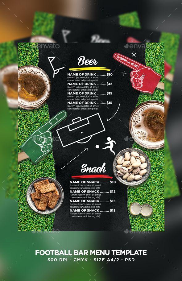 football bar menu food menu print templates and template