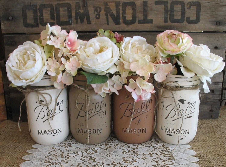 Set Of 4 Pint Mason Jars Ball Painted Flower Vases Creme Tan And Brown Wedding