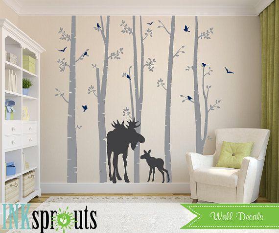 Woodland Themed Nursery: Birch Forest Decal With Moose,5 Birch Decal, Birch Tree