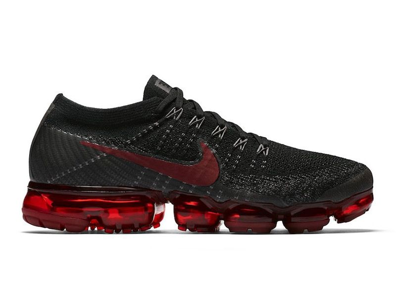 ea52ca3c114f Men s Women s Nike Air VaporMax Flyknit Bred Black Team Red Midnight  Frog Gym Red Shoes 849558-013 UK Trainers Sale