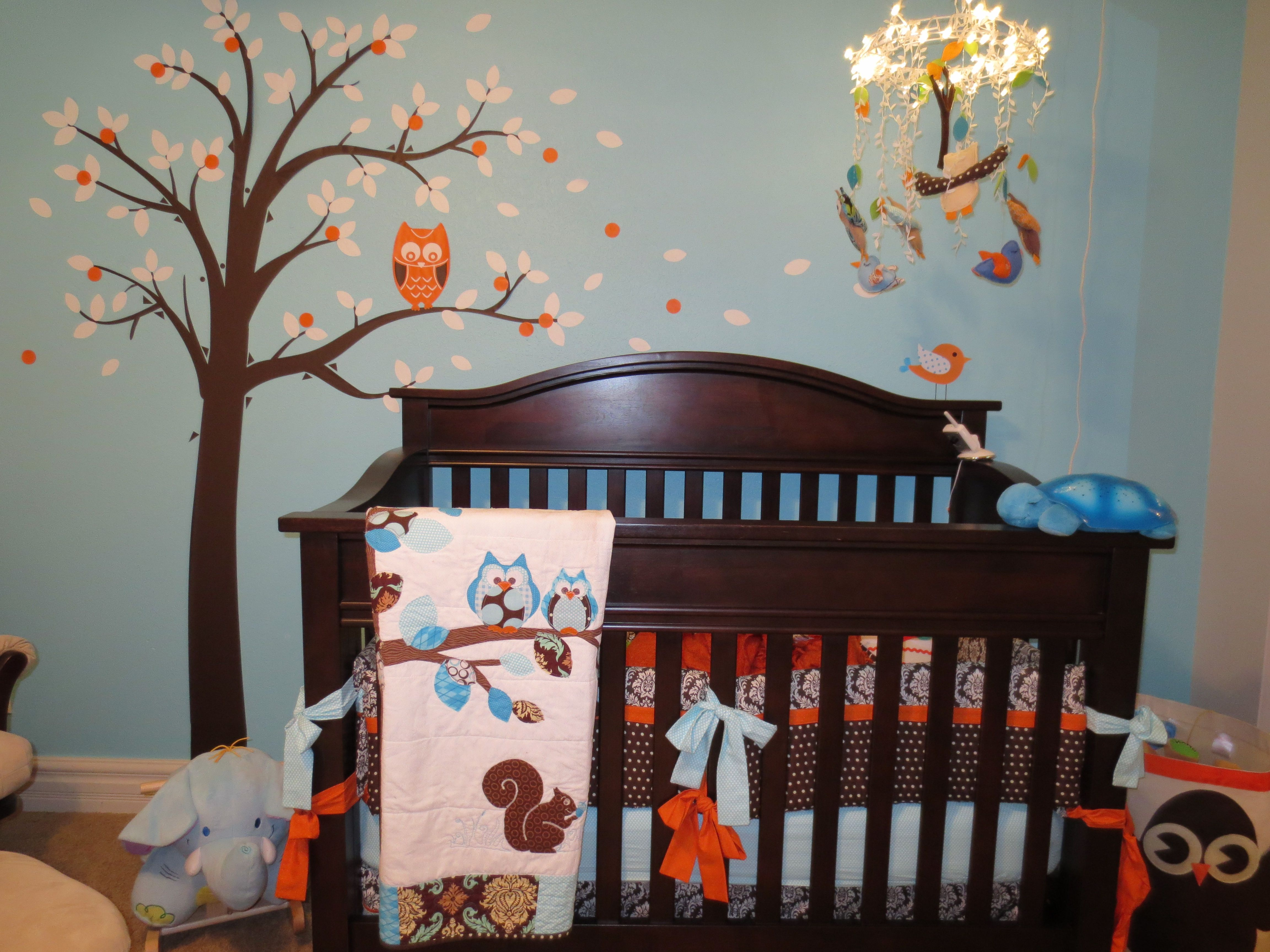 Landon's owl nursery crib Mobile made with hanging
