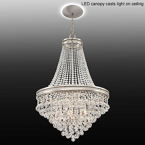 Cherrie 29w large crystal chandelier with led canopy canopy a chrome finish five light chandelier with elegant clear crystal strands and accents and an led lighted canopy large crystal chandelier with led lighted mozeypictures Gallery