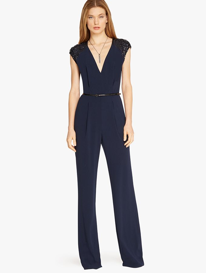 Embellished Sleeve Crepe Jumpsuit