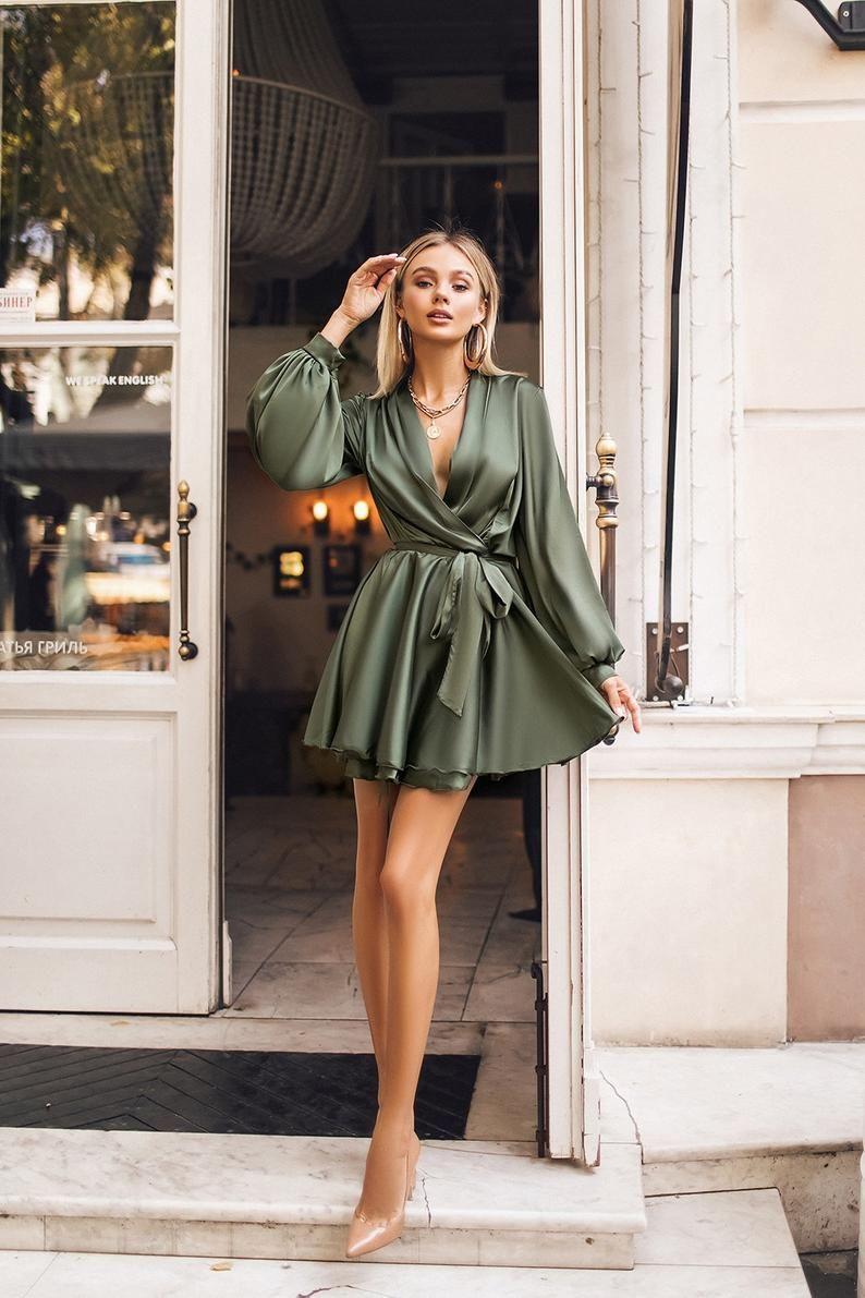 Silk-like mini wrap dress | Etsy