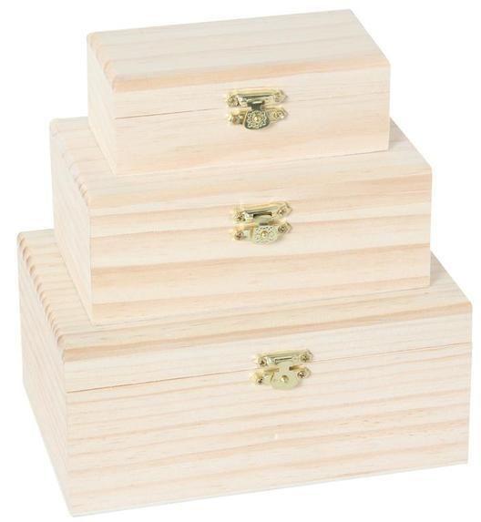 Holzkisten-Set 3 Stück mit Metall Zierverschluß